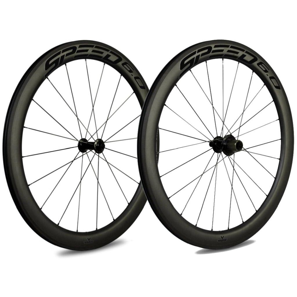 Bild von Veltec Speed 6.0 Carbon Laufradsatz - Drahtreifen - QR100/QR130 - schwarz mit schwarzen Decals