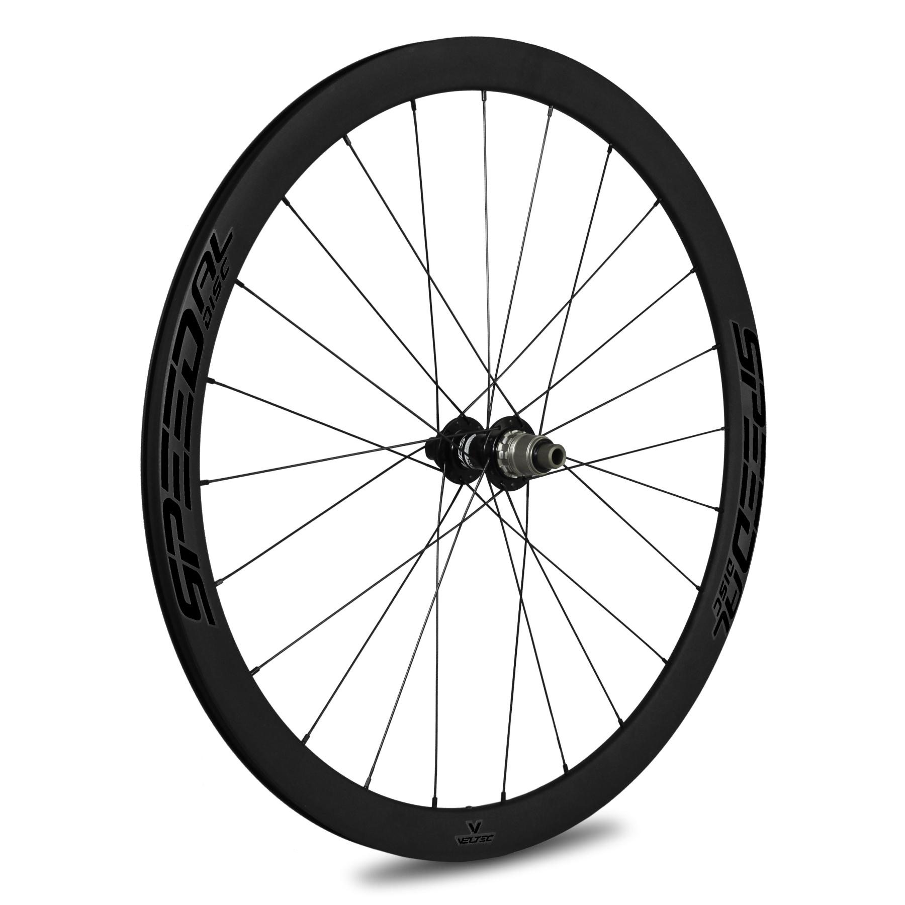 Veltec Speed AL Disc Hinterrad - Drahtreifen - QR130 - Shimano/SRAM HG - schwarz