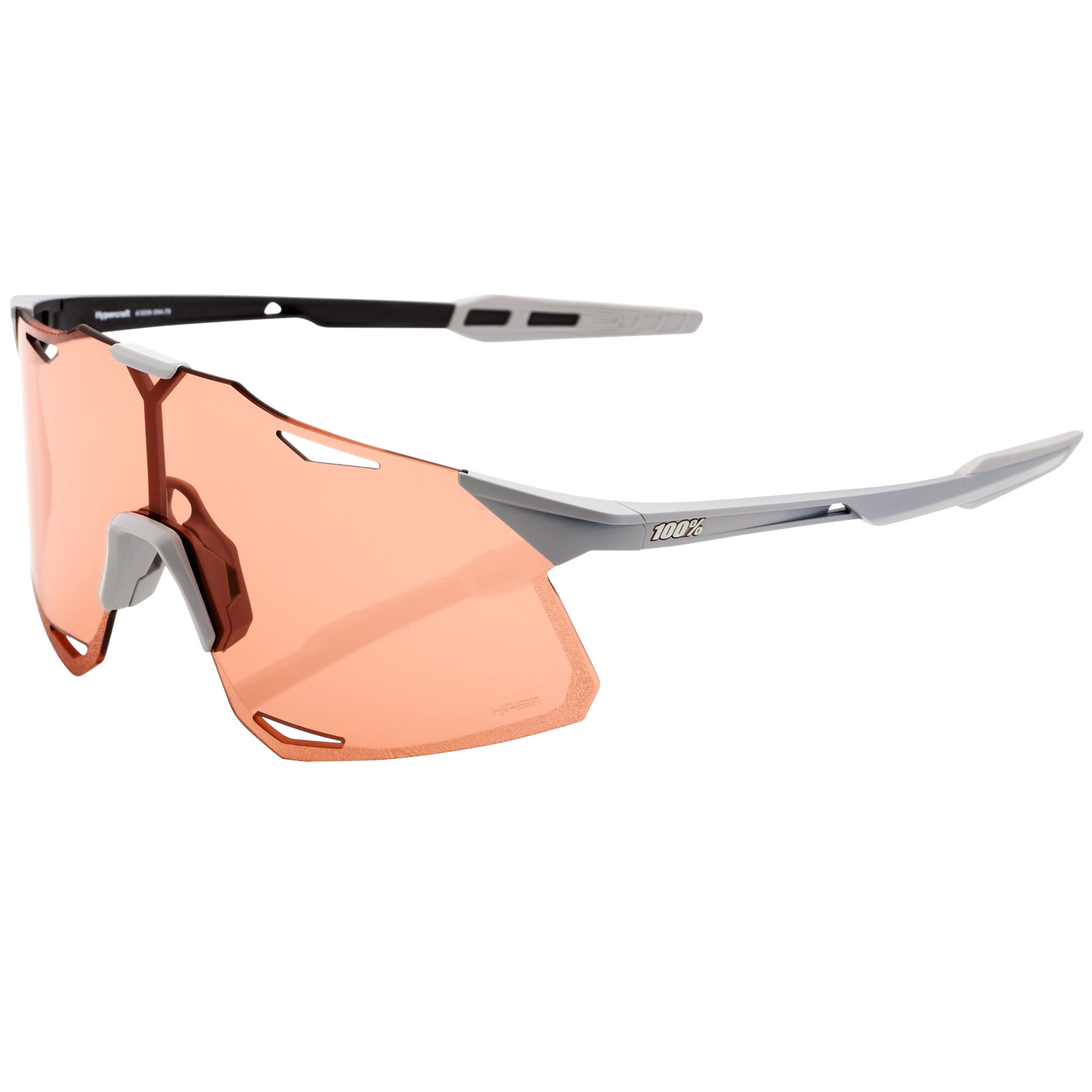 100% Hypercraft - HiPER Lens Gafas - Matte Stone Grey/Coral + Clear