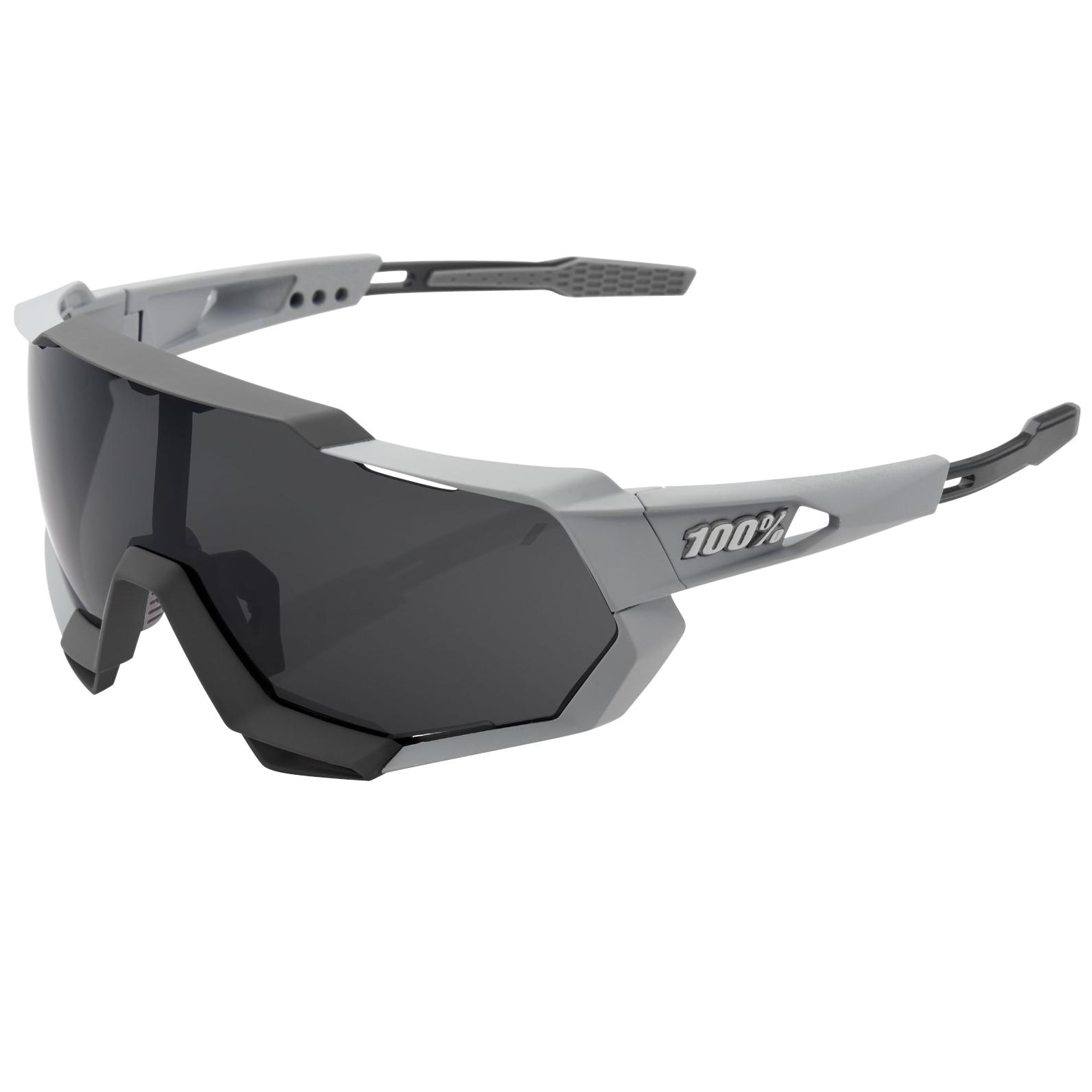 100% Speedtrap Smoke Glasses - Soft Tact Stone Grey/Smoke + Clear