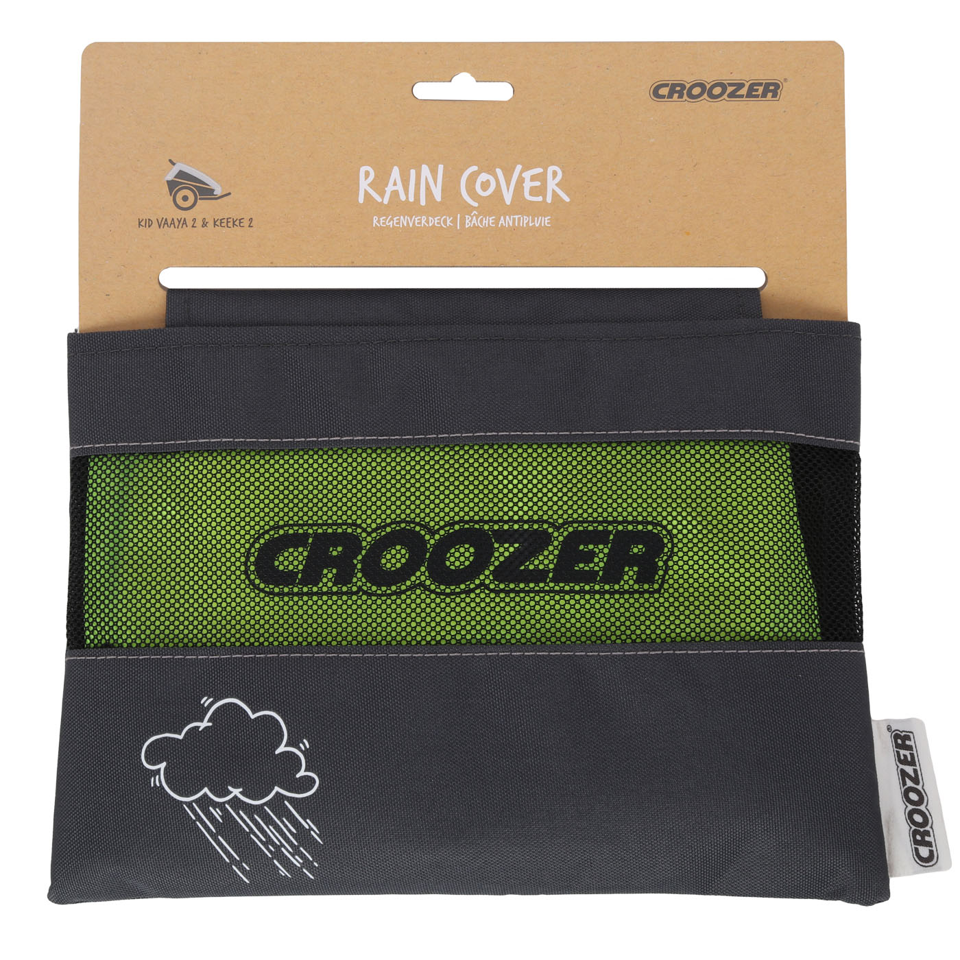 Picture of Croozer Rain Cover for Kid 2-Seat Bike Trailer - lightning yellow