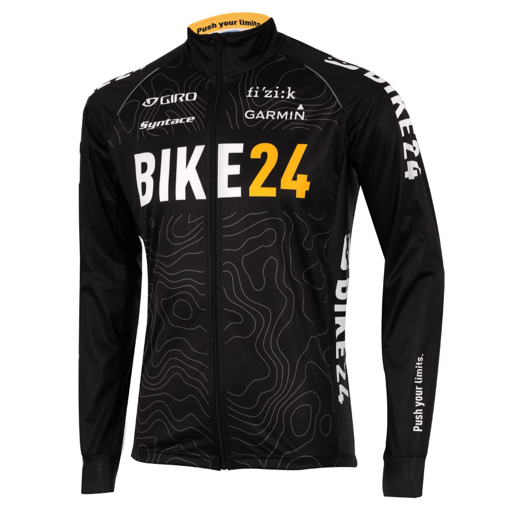 BIKE24 Team Langarmtrikot - Topographic-Black