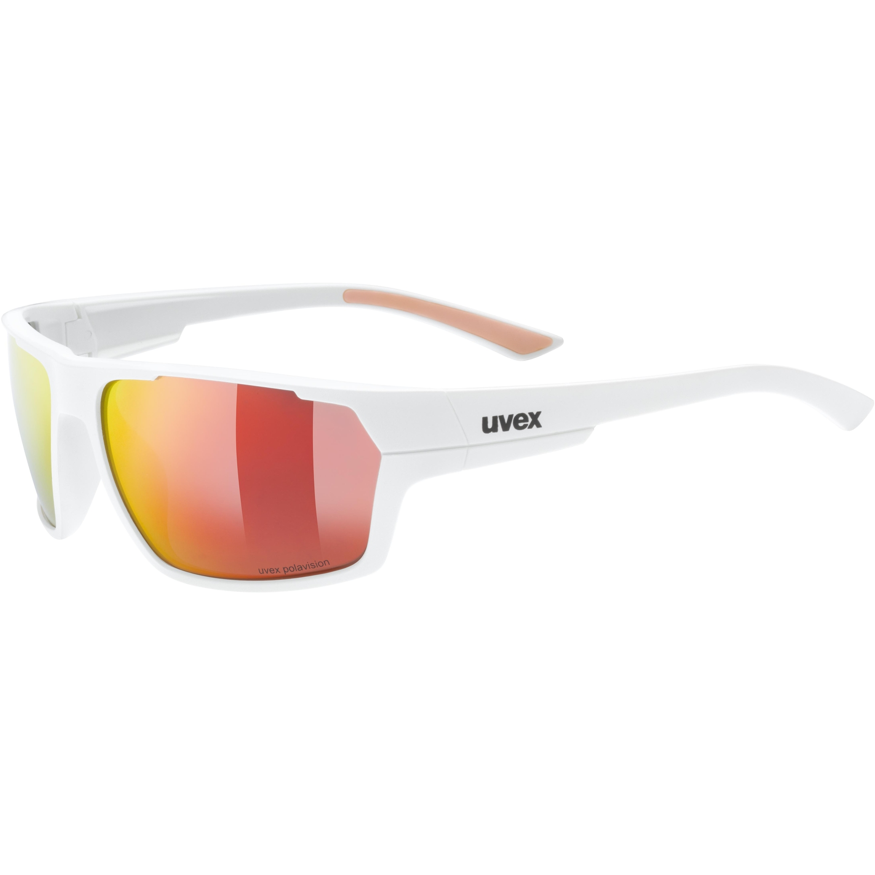 Uvex sportstyle 233 P Glasses - white mat/polavision mirror red