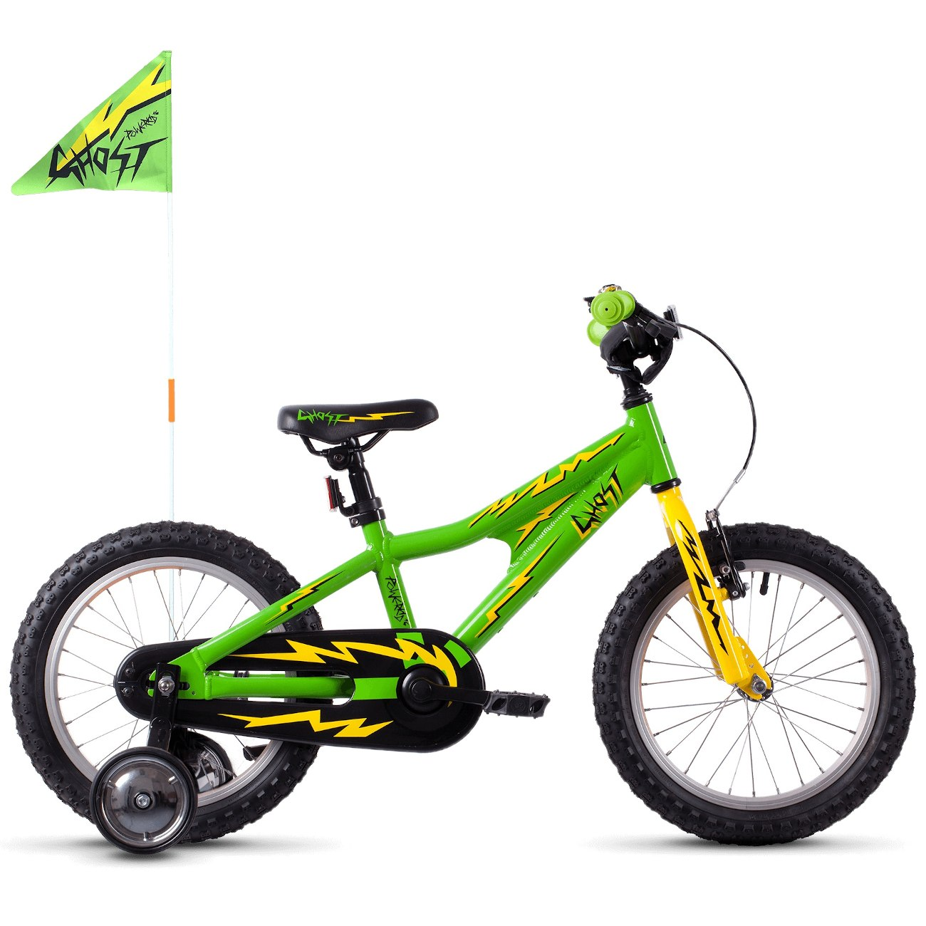 "Ghost POWERKID AL - 16"" Kids Bike - 2021 - riot green / cane yellow / night black"