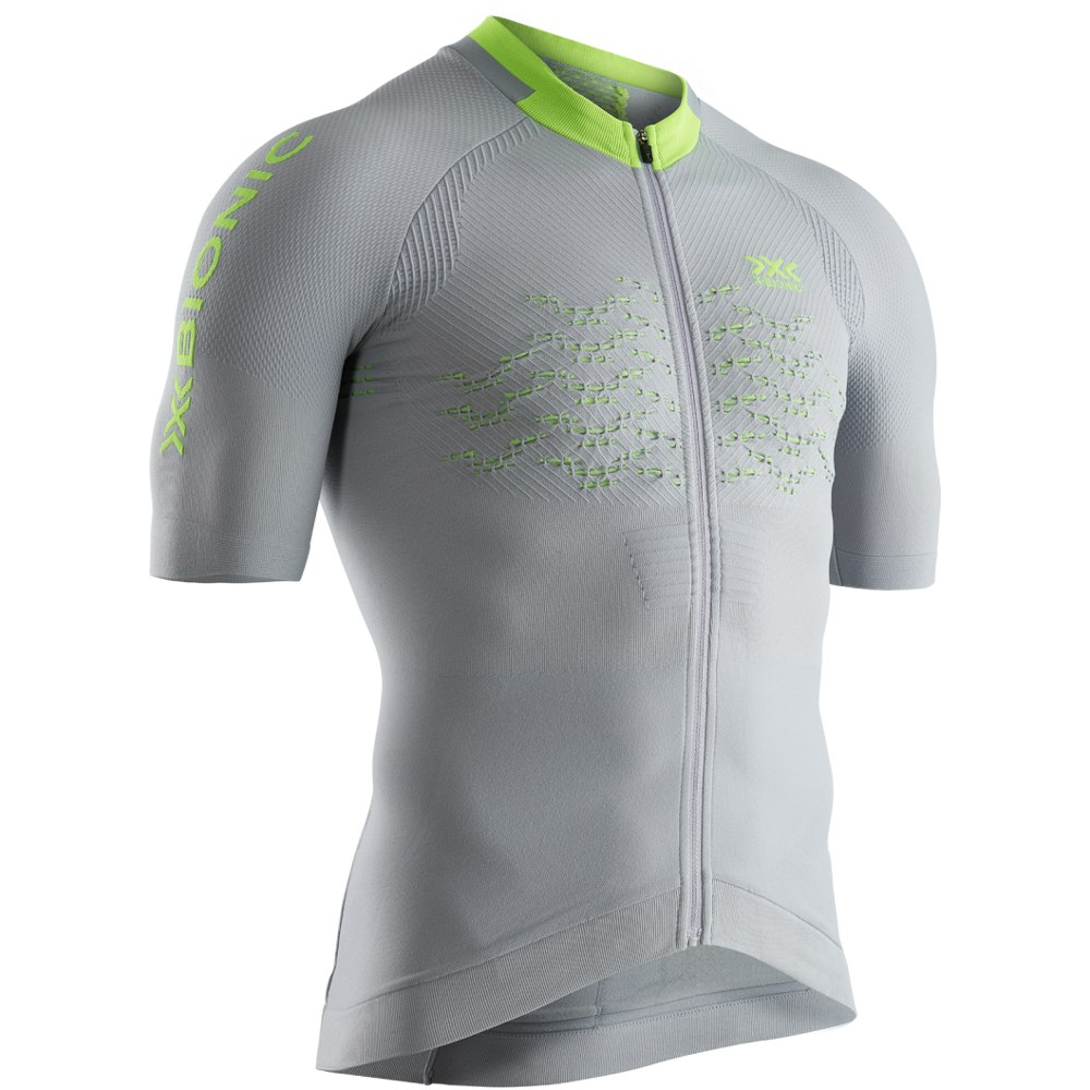 Image of X-Bionic The Trick 4.0 Bike Full Zip Shirt Short Sleeves for Men - dolomite grey/phyton yellow