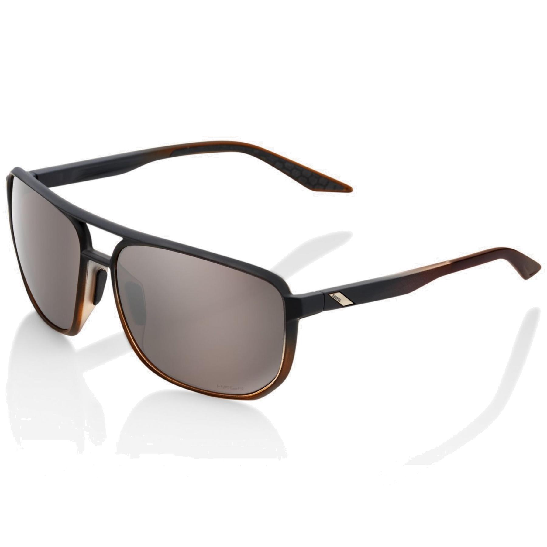 100% Konnor Aviator square - HiPER Mirror Lens Gafas - Matte Translucent Brown Fade/HiPER Silver Mirror