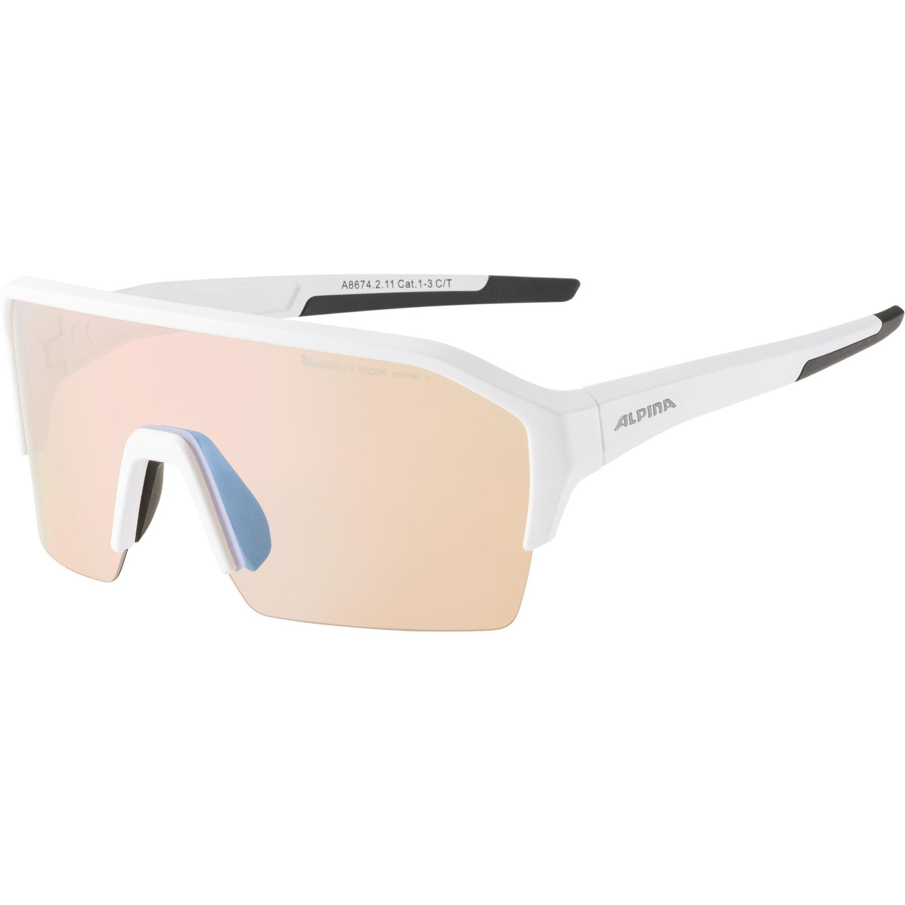 Image of Alpina Ram HR HVLM+ Glasses - white matt / Hicon Varioflex blue mirror