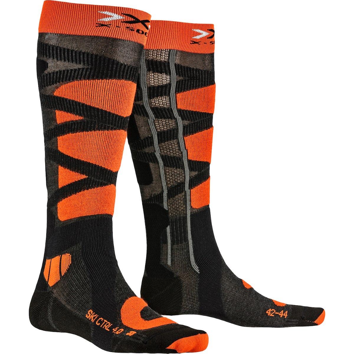 X-Socks Ski Control 4.0 Socken - anthracite melange/x-orange