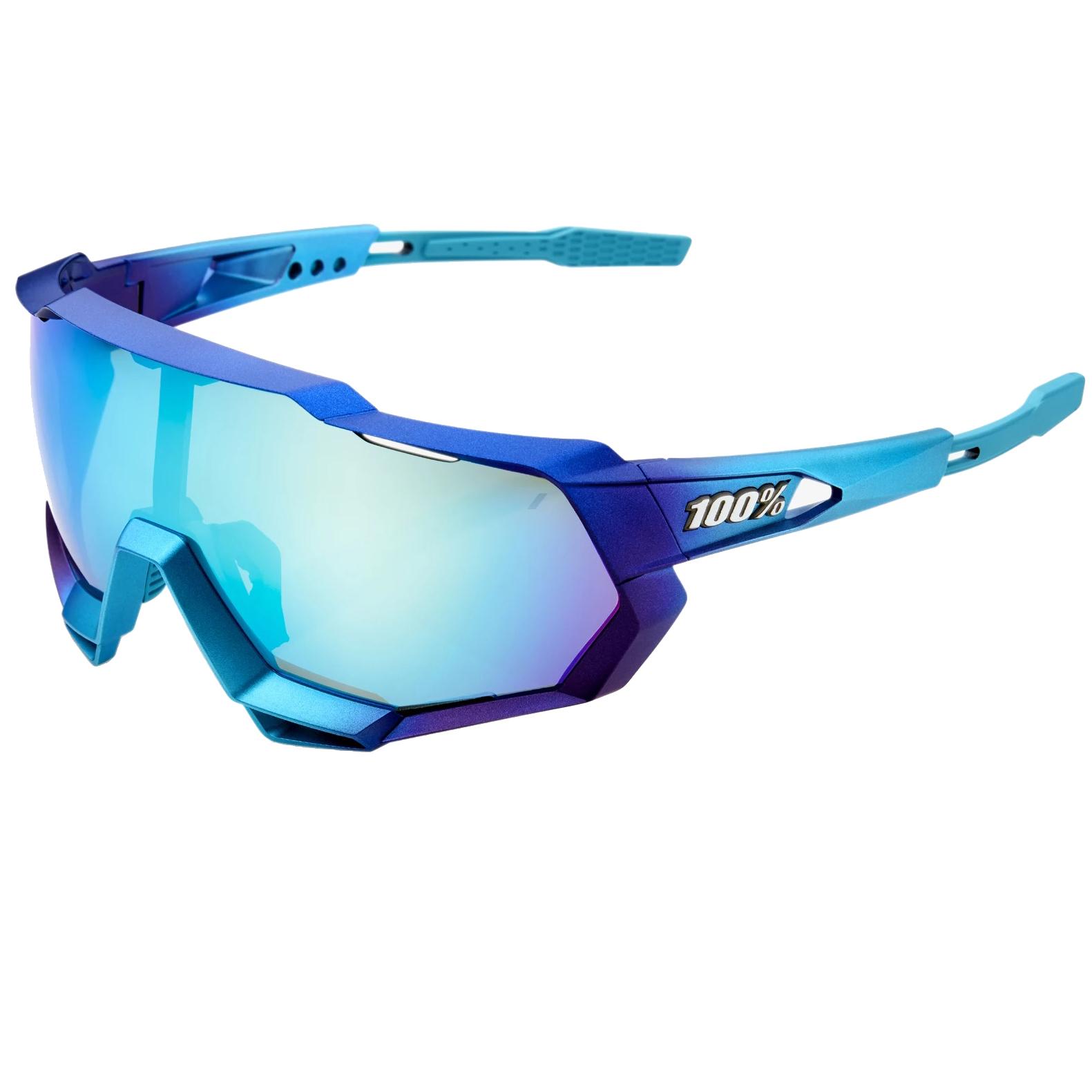 100% Speedtrap Mirror Lens Glasses - Matte Metallic Into the Fade/Blue Topaz Multilayer + Clear