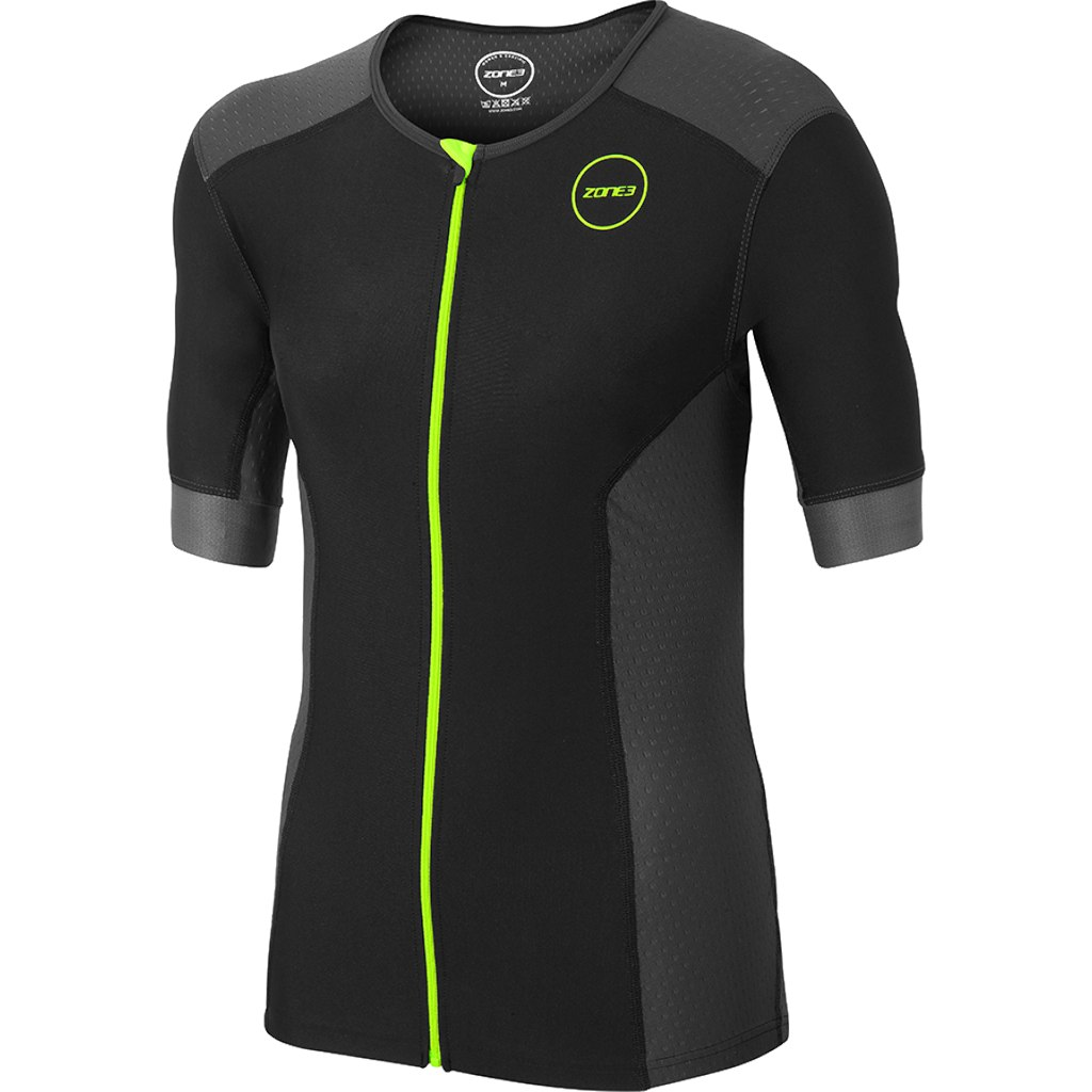 Zone3 Aquaflo Plus Kurzarm Top - black/grey/neon green