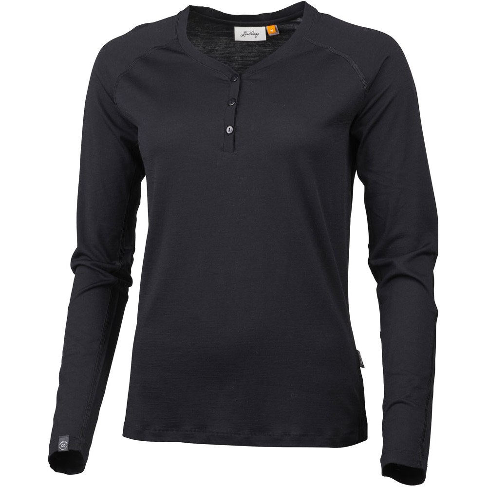 Lundhags Gimmer Merino Light Women's Henley Long Sleeve Shirt - Black 900