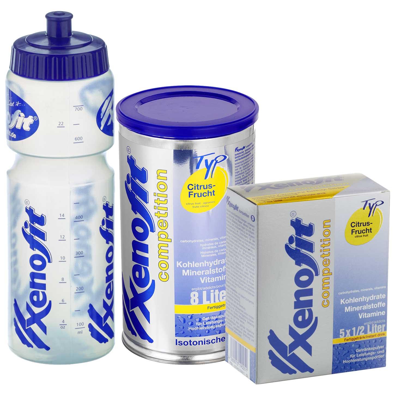 Xenofit Competition Citrus-Frucht - Isotonisches Kohlenhydrat-Getränk - Vorteilspack + Trinkflasche