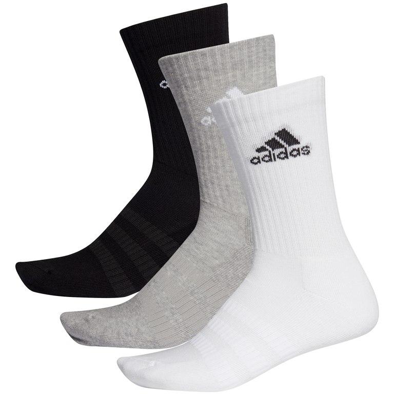 Image of adidas Cushioned Crew Socks 3 Pairs - medium grey heather/white/black DZ9355