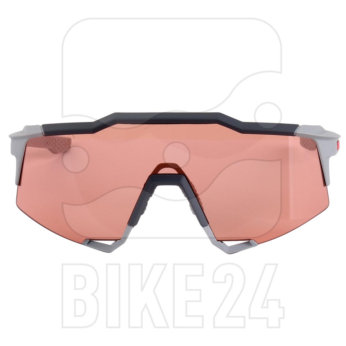 Imagen de 100% Speedcraft - Tall - HiPER Glasses - Soft Tact Stone Grey/Coral + Clear