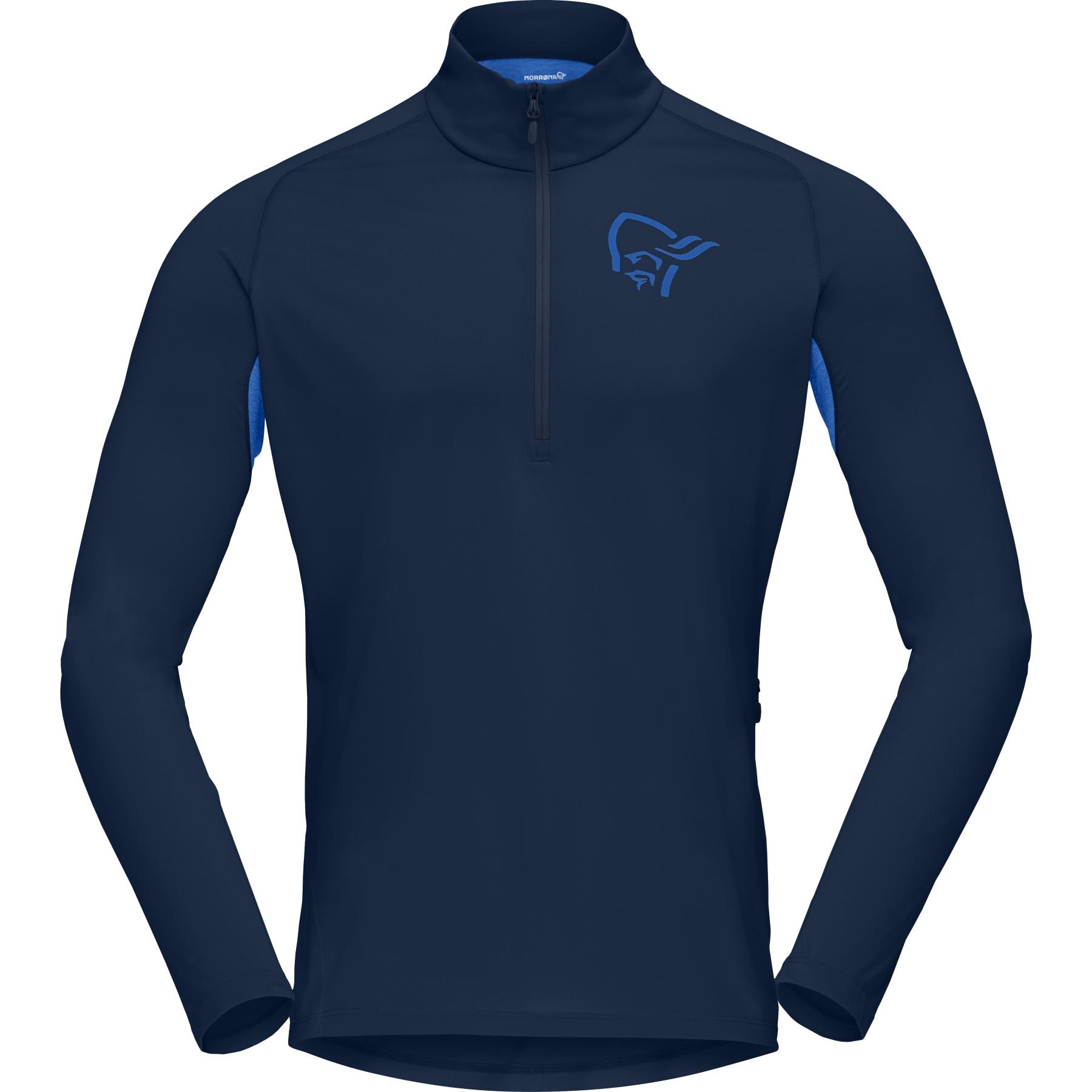 Norrona fjora equaliser Zip Top Camiseta manga larga para hombres - Indigo Night/Olympian Blue