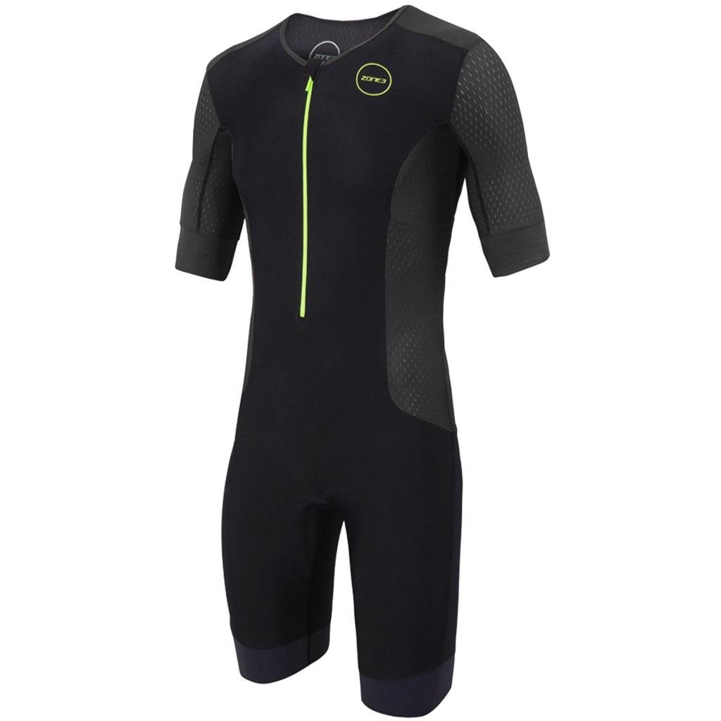 Zone3 Men's Aquaflo Plus Short Sleeve Trisuit - black/grey/neon green