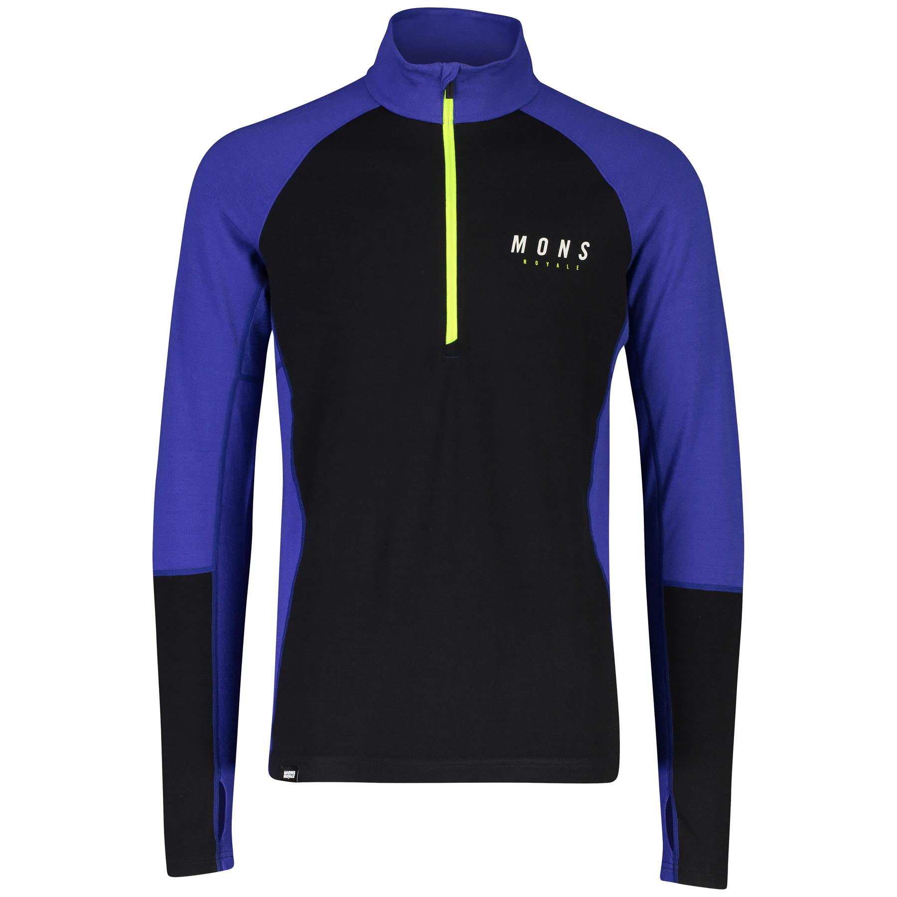 Mons Royale Olympus 3.0 Half Zip Longsleeve Shirt 100387 - ultra blue/black