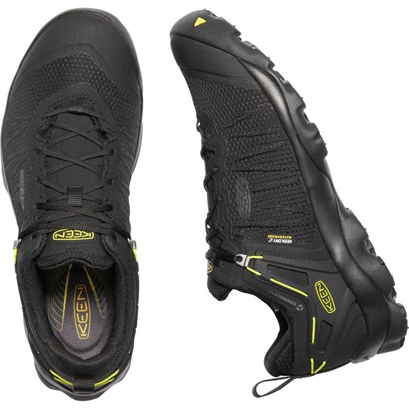 Image of KEEN Venture Waterproof Men's Hiking Shoe - Black / Keen Yellow