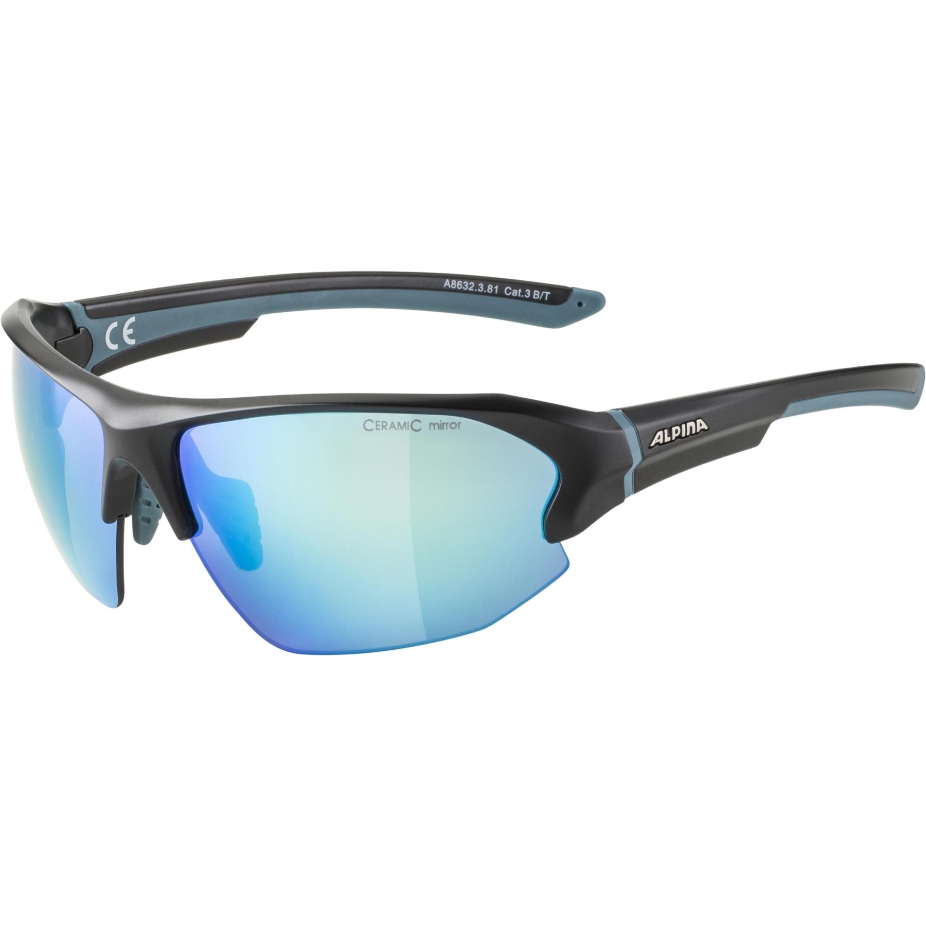 Alpina Lyron HR Glasses - black matt - blue / blue mirror