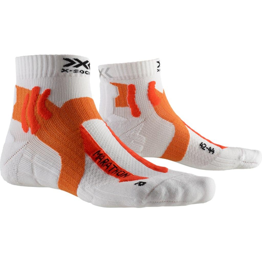 X-Socks Marathon Laufsocken - arctic white/dark ruby