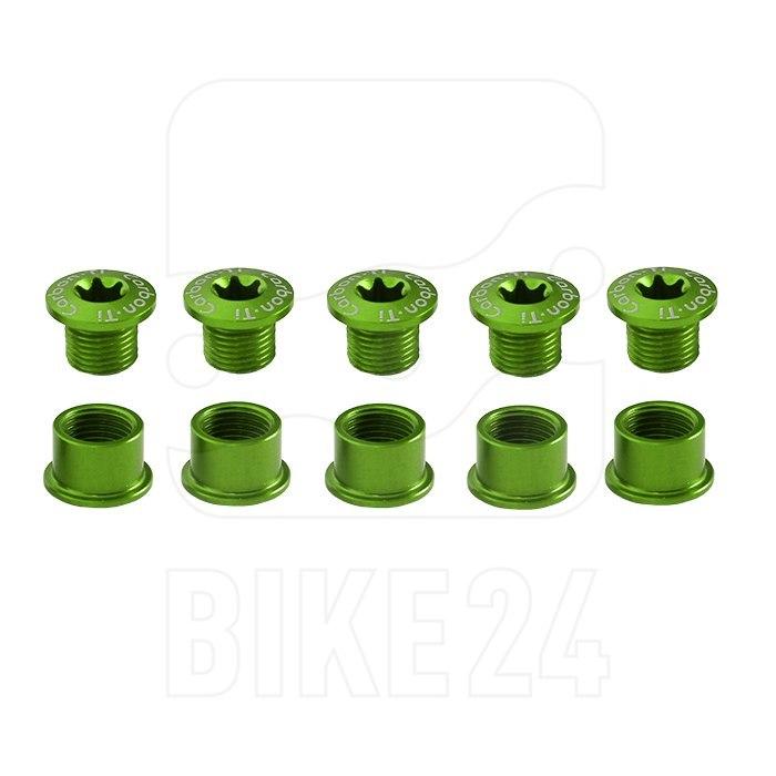 Carbon-Ti X-Fix Road Chainring Fixing Bolt Set - acid green