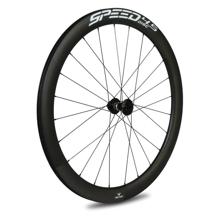 Veltec Speed 4.5 Disc Carbon Vorderrad - Drahtreifen - 12x100mm - schwarz mit weißen Decals