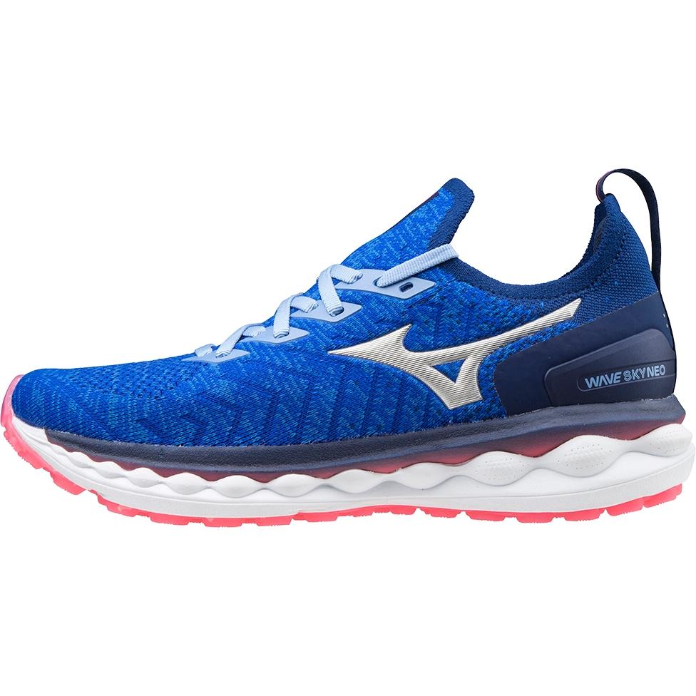 Mizuno Wave Sky Neo Womens Running Shoe - Reflex Blue C/Silver/Diva Pink