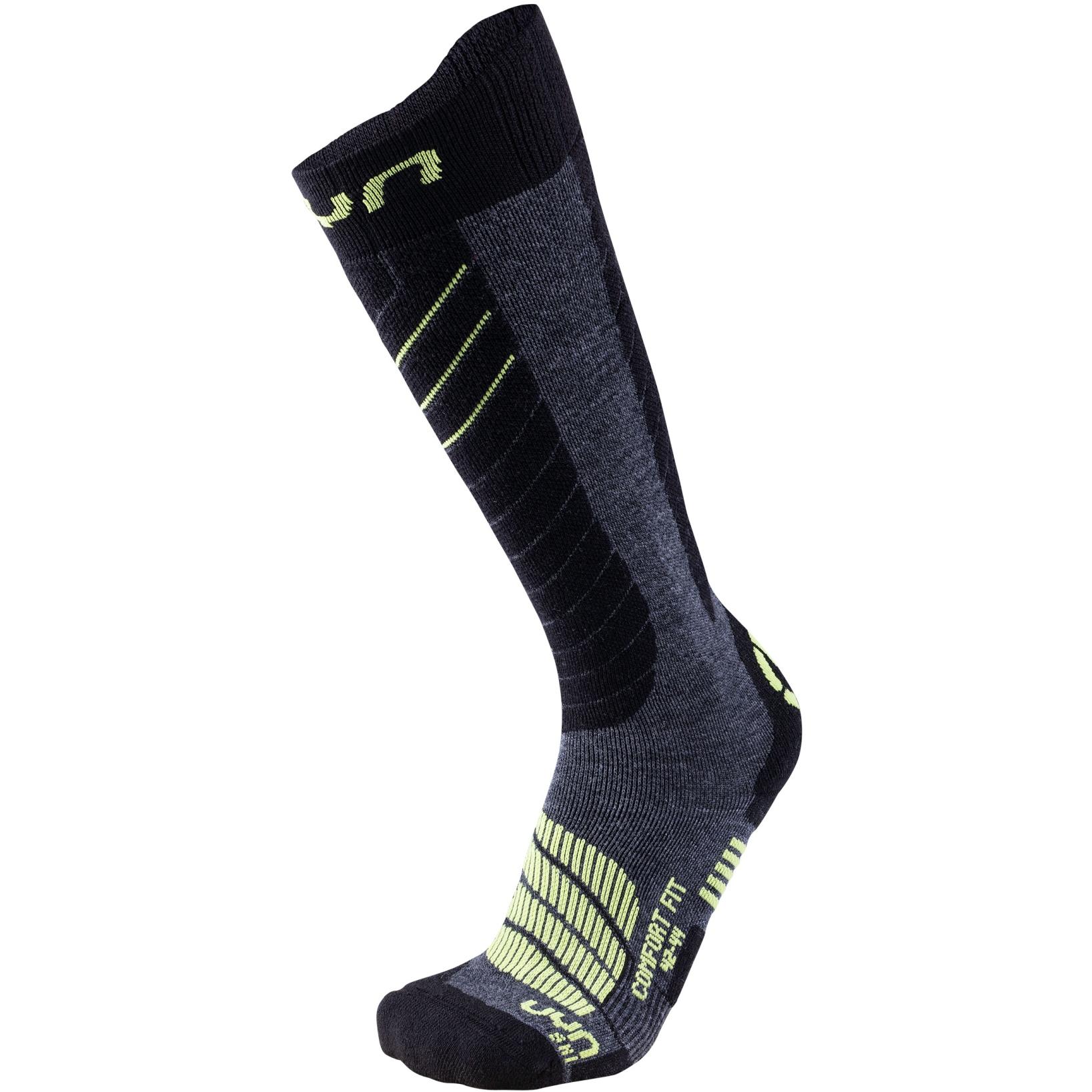 UYN Comfort Fit Men's Ski Socks - Medium Grey Melange/Green Lime