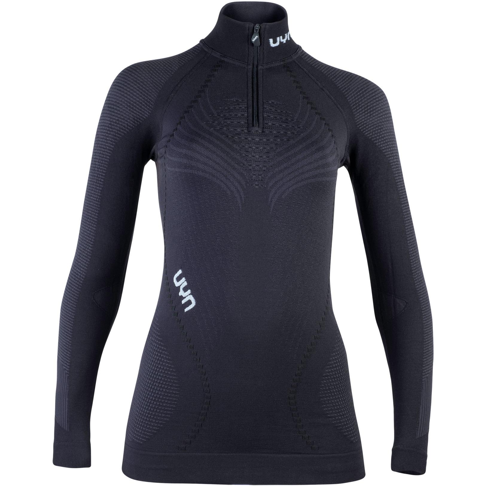 UYN Ambityon Lady Underwear Shirt Long Sleeves Zip Up Turtle Neck - Blackboard/Anthracite/White