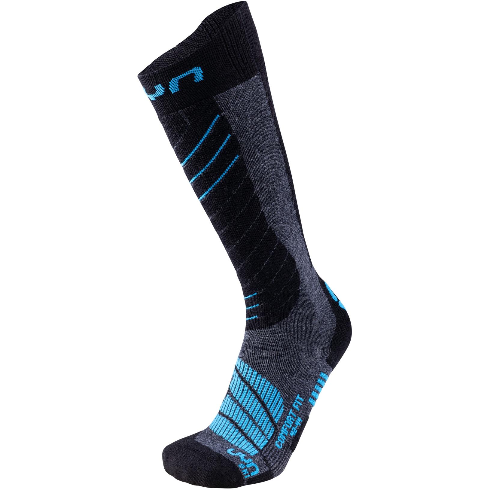 UYN Comfort Fit Men's Ski Socks - Medium Grey Melange/Azure