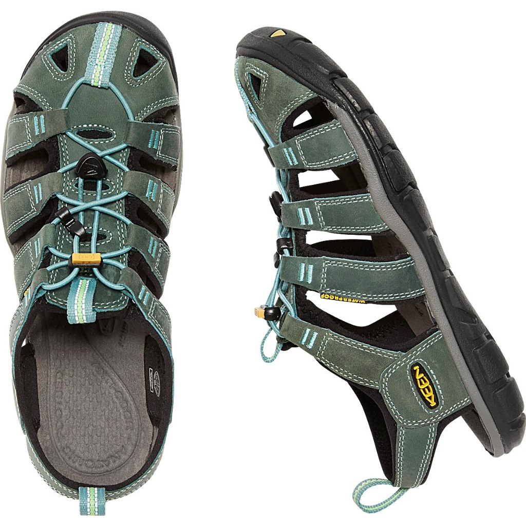 Image of KEEN Clearwater Leather CNX Womens Sandal - Mineral Blue/Yellow
