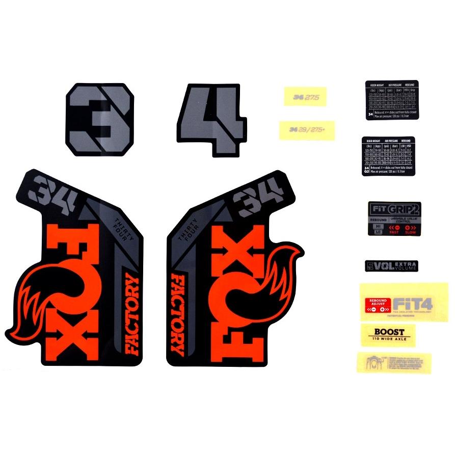 FOX Decal Kit Orange Logo for Fork 34 Factory MY-2021 - 803-01-508
