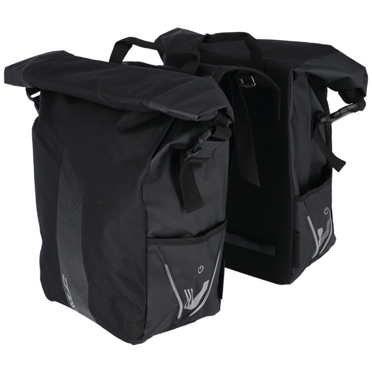 Bild von XLC V-Light Rolltop Gepäckträgertasche - Doppelt - schwarz