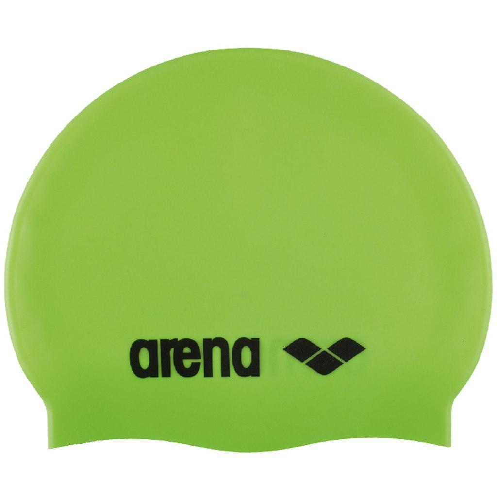 arena Classic Silicone JR Kids Swim Cap - acid lime/black