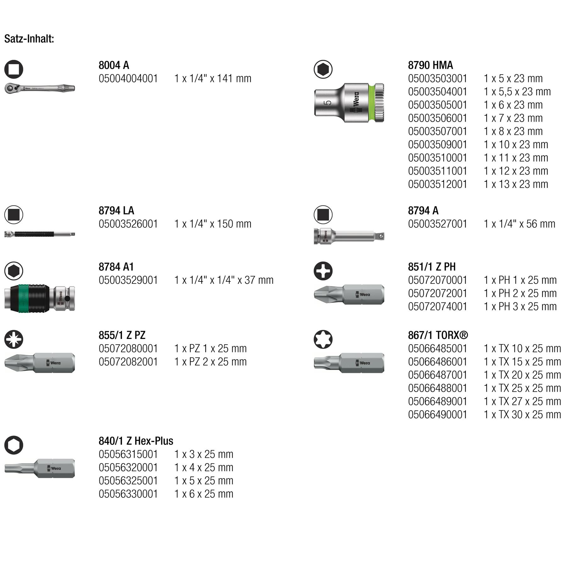 Image of Wera 8100 SA 8 Zyklop Metal Ratchet Set - 1/4 Inch