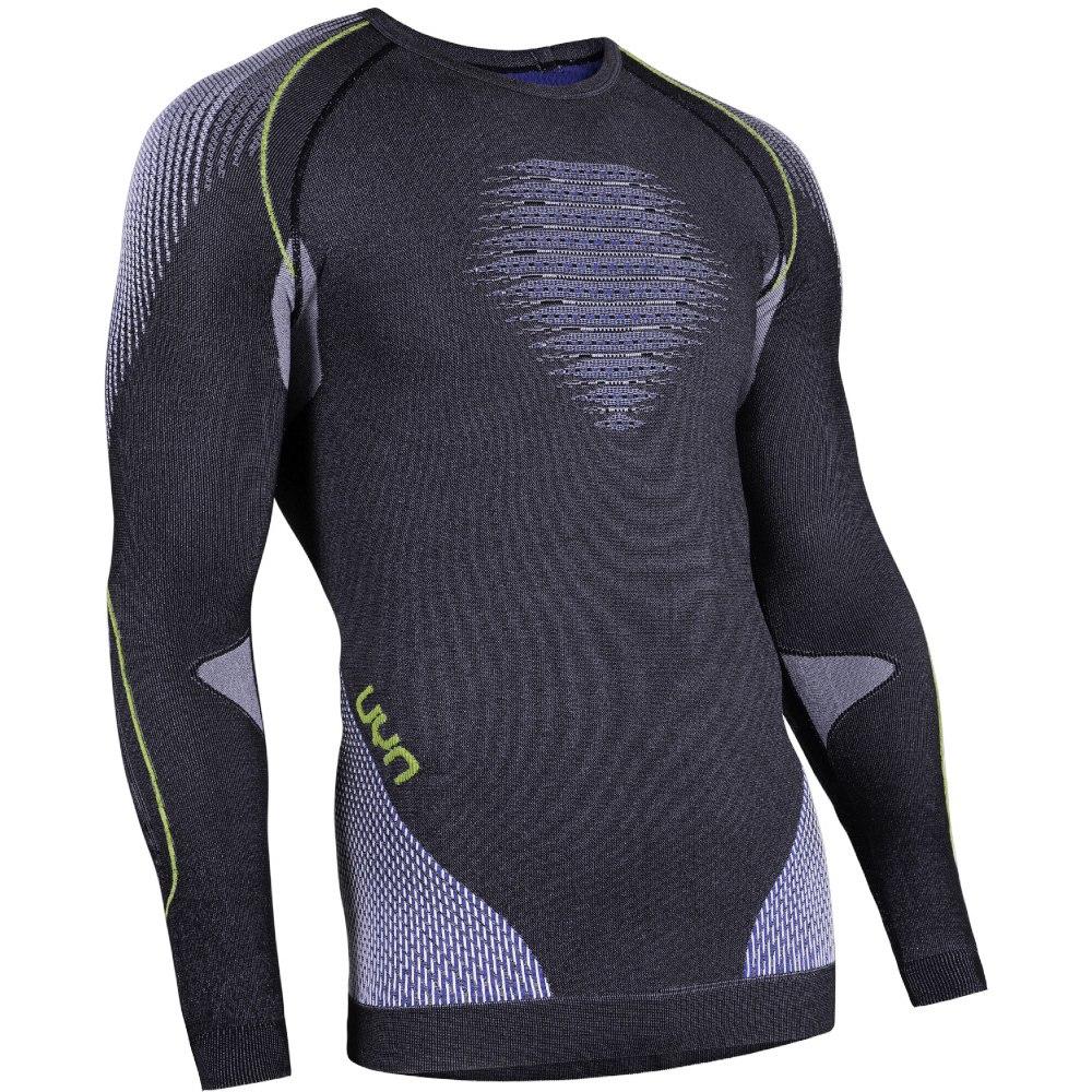 UYN Man Evolutyon Shirt Longsleeve Melange - Anthracite Melange/Blue/Yellow Shiny