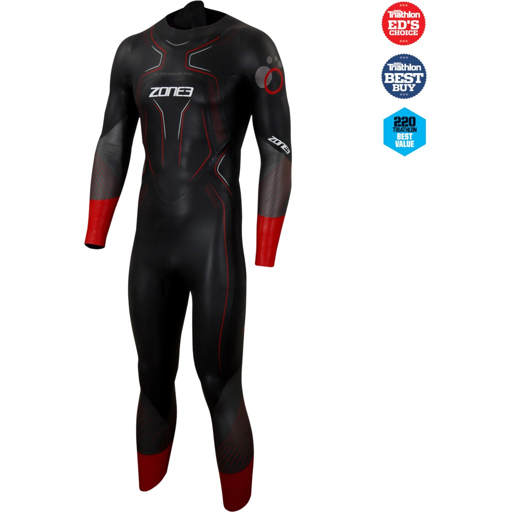 Zone3 Men's Aspire Wetsuit - black/gun metal/red
