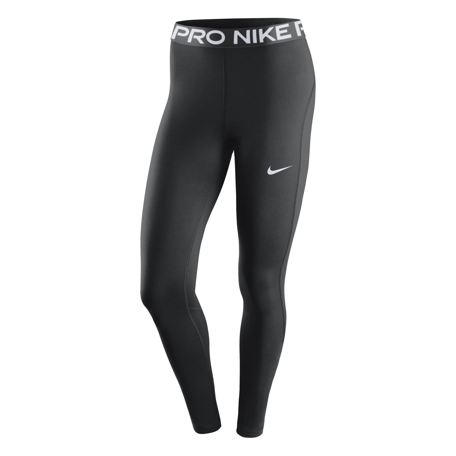 Nike Pro Mid-Rise Mallas Mujer - black/white CZ9779-010