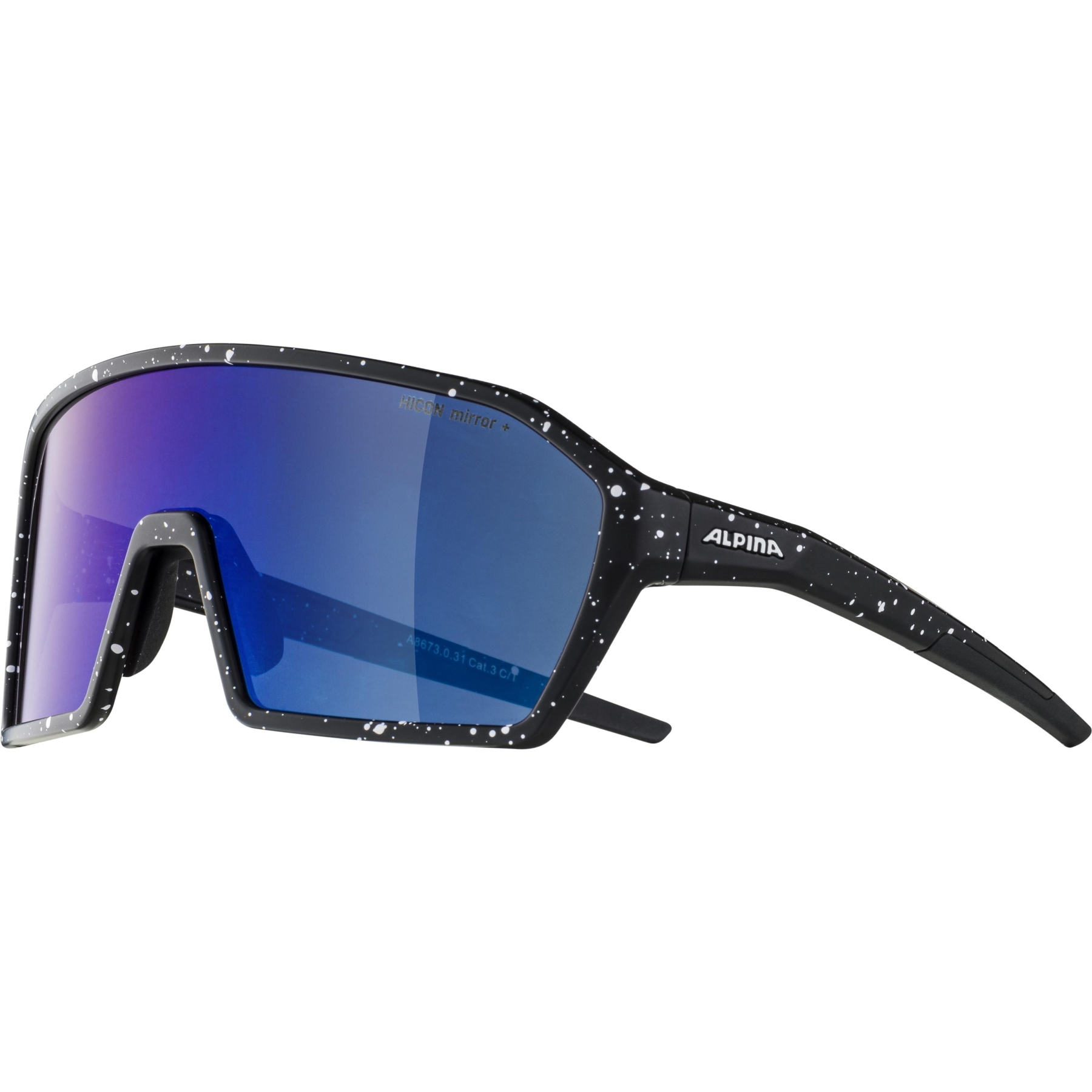Image of Alpina Ram HM+ Glasses - black blur matt / Hicon blue mirror