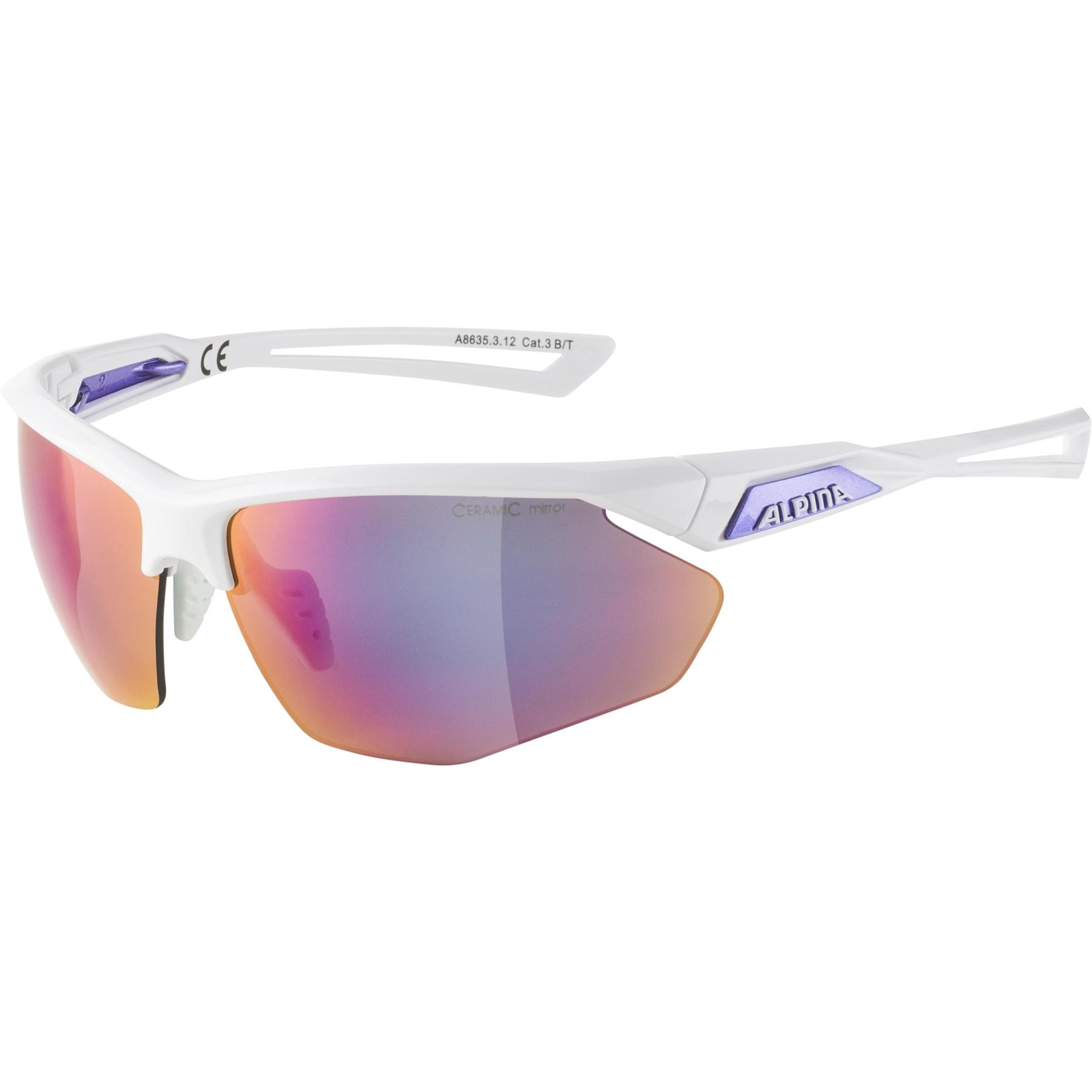 Alpina Nylos HR Glasses - white-purple / purple mirror