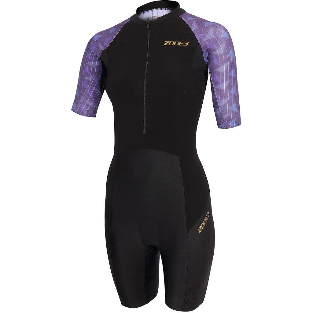 Zone3 Women's Lava Short Sleeve Trisuit - black/purple/gold