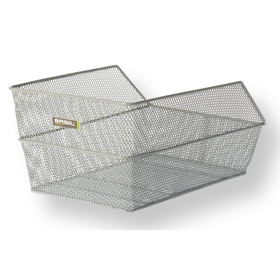 Basil Cento Rear School Bag Basket - silver