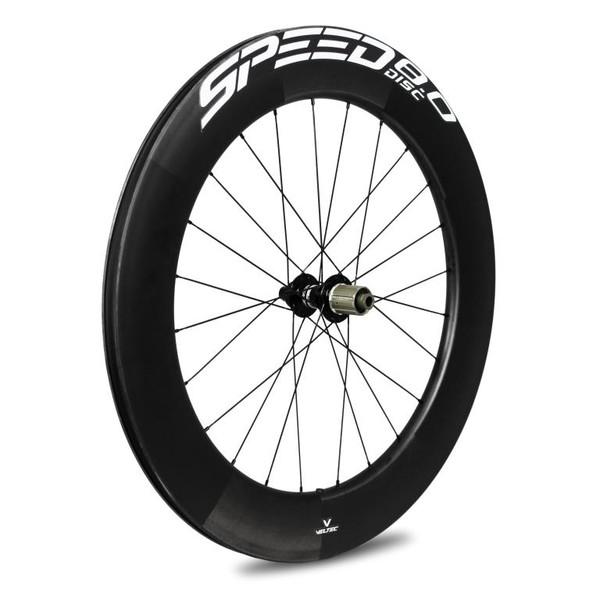 Bild von Veltec Speed 8.0 Disc Carbon Hinterrad - Drahtreifen - 12x142mm - schwarz mit weißen Decals