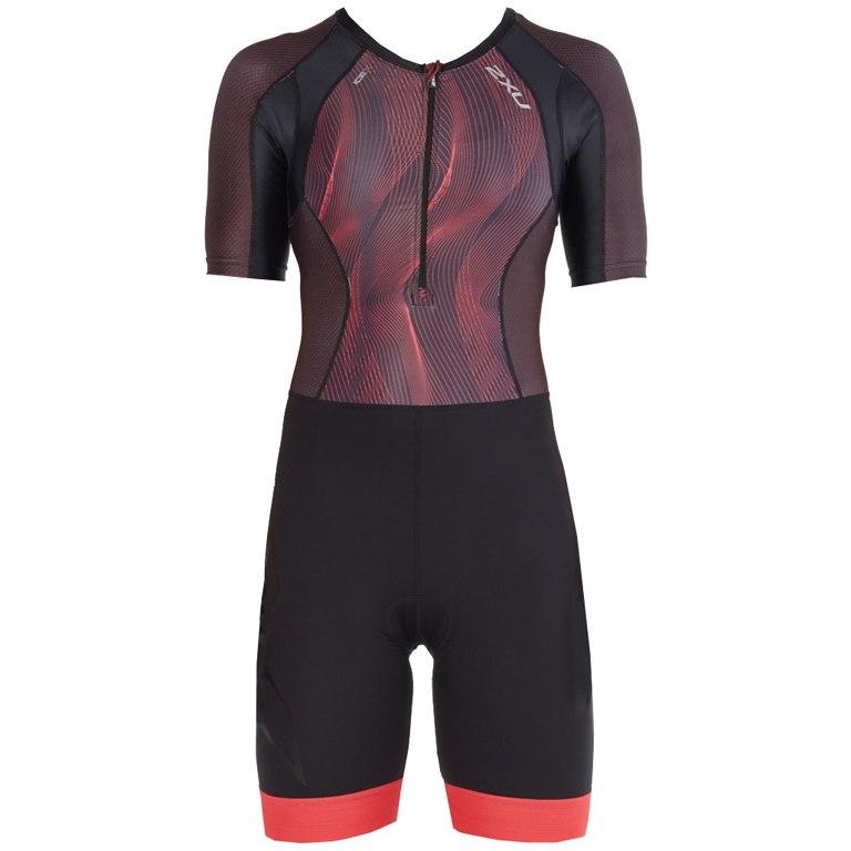Imagen de 2XU Compression Women's Sleeved Trisuit WT4843d - black/vertical curve watermelon