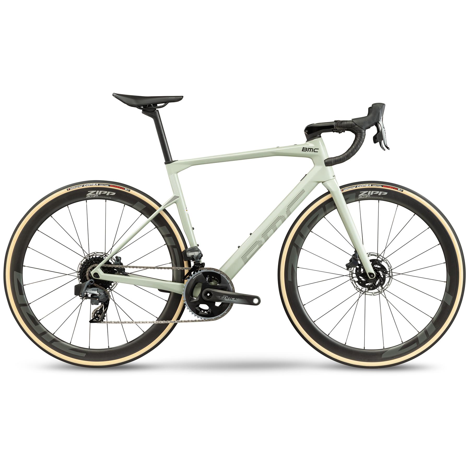 BMC ROADMACHINE 01 THREE - Force eTap AXS HRD Roadbike - 2021 - green sand & black