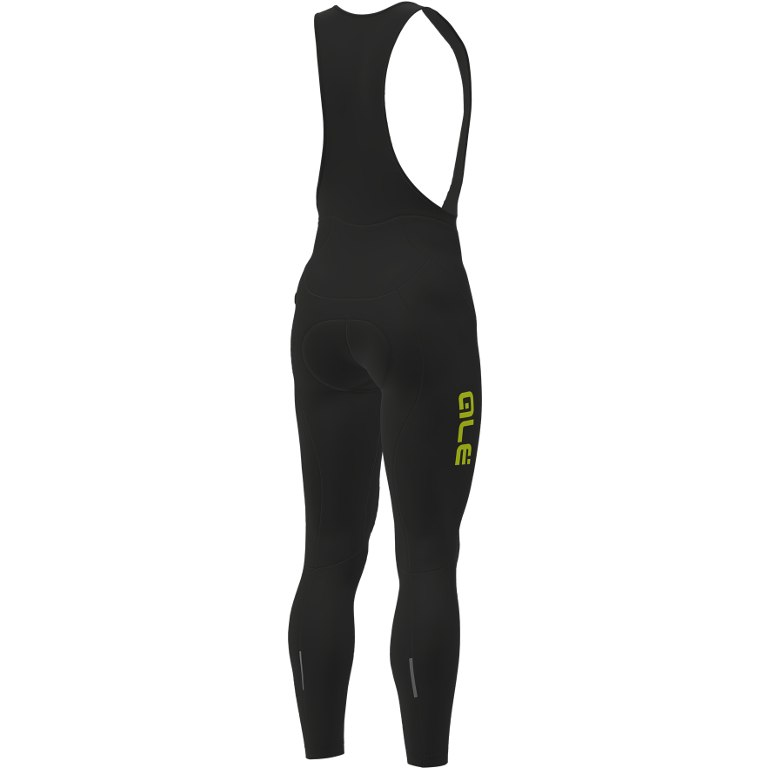 Image of Alé Solid Winter Bib Tights - black/yellow-fluo