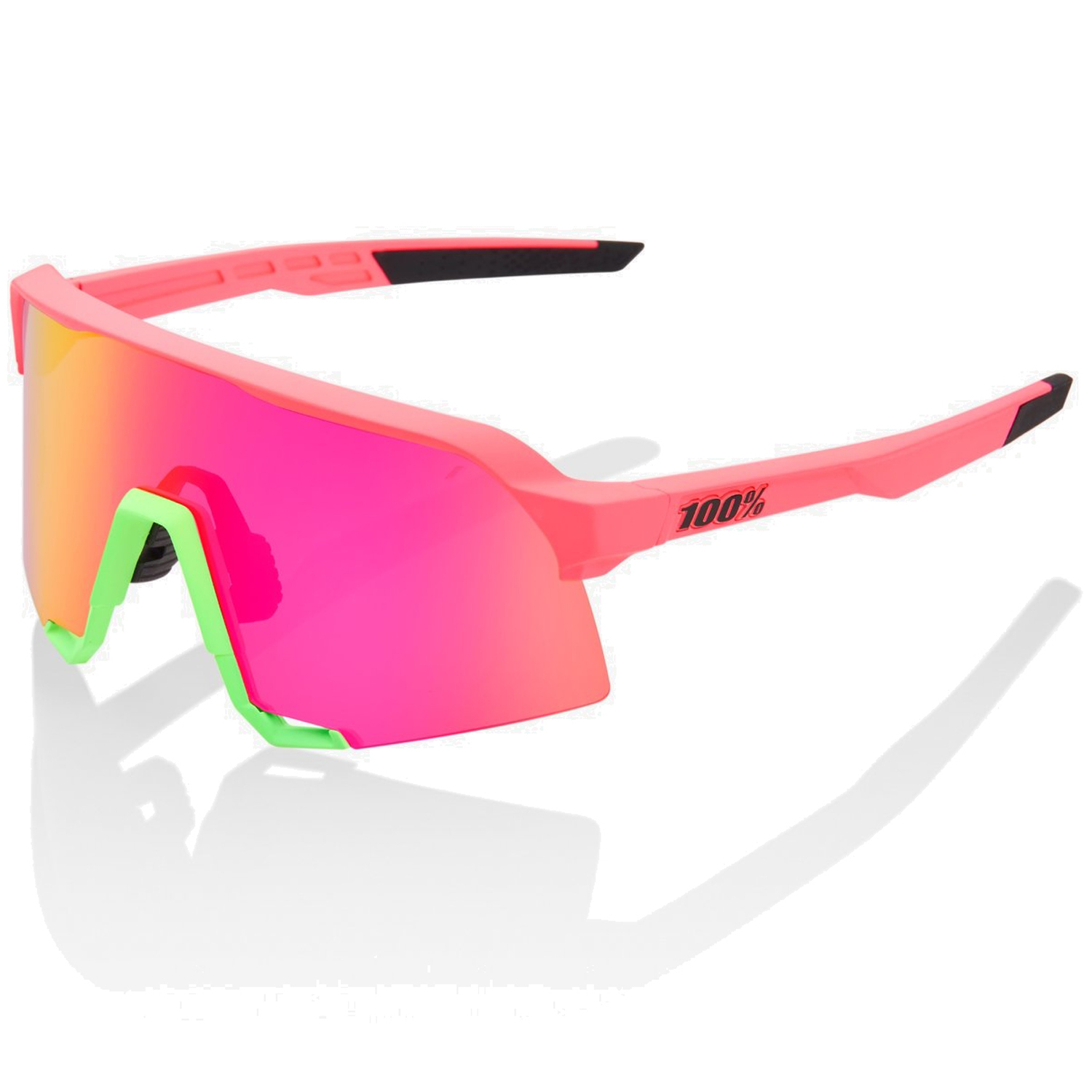 100% S3 Mirror Gafas - Matte Washed Out Neon Pink/Purple Multilayer + Clear