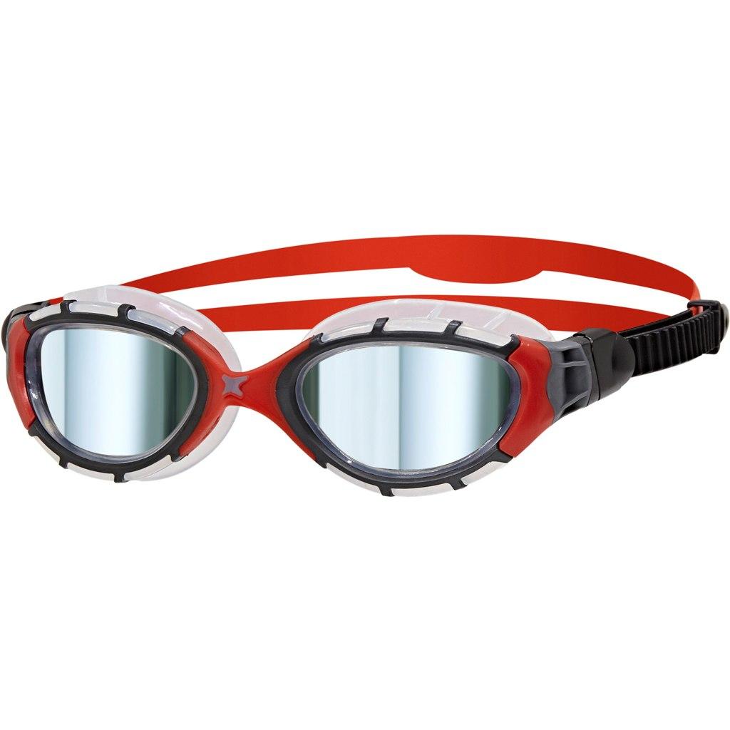 Zoggs Predator Flex Titanium Schwimmbrille - Black/Red/Mirror