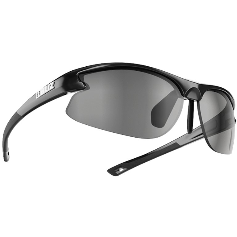 Bliz Motion+ Smallface Shiny Black / Smoke with Silver Mirror + Orange + Clear Glasses
