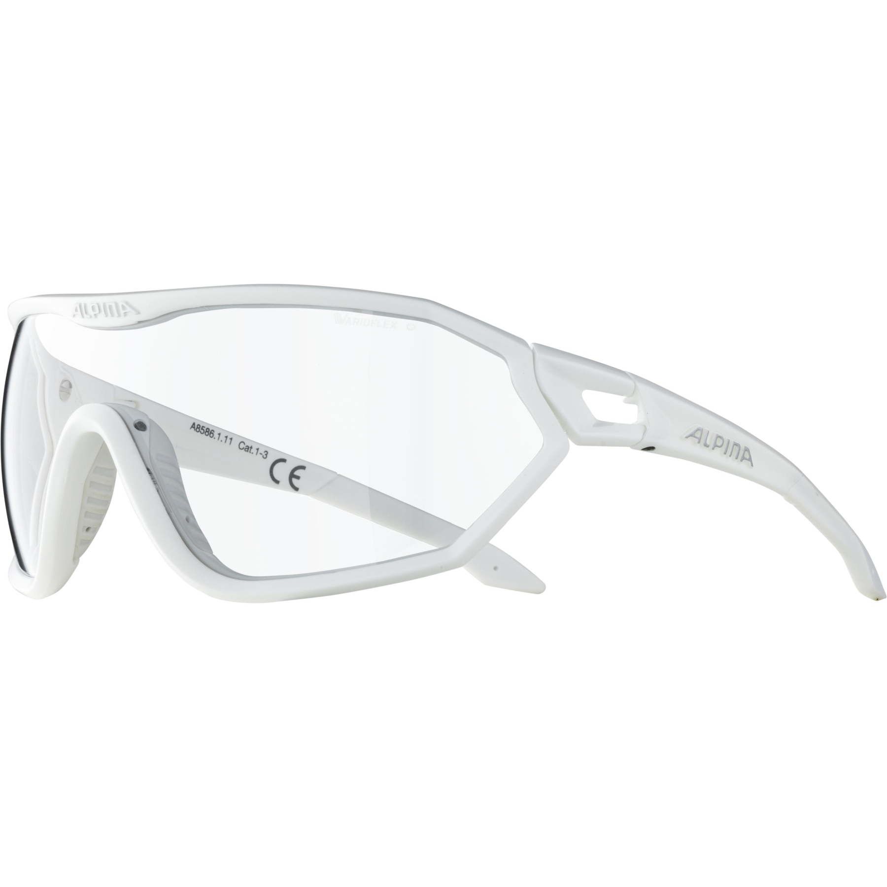 Image of Alpina S-Way VL+ Glasses - white matt / Varioflex black